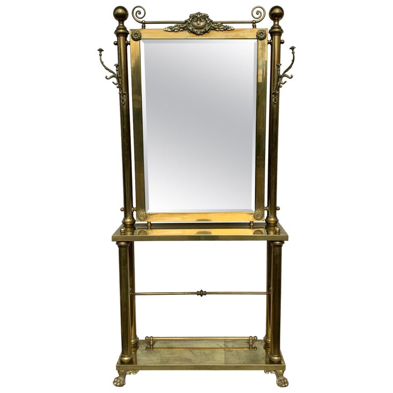 Brass Hall Tree Console Table / Mirror For Sale