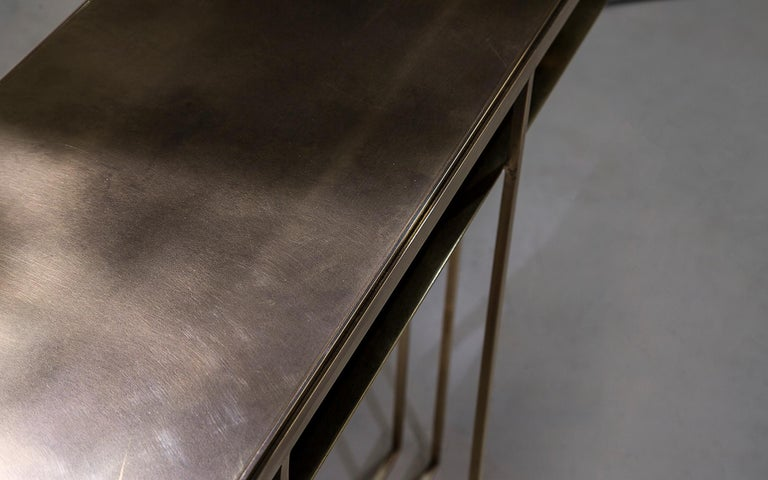 Contemporary Brass Handcrafted Console Signed by Novocastrian For Sale