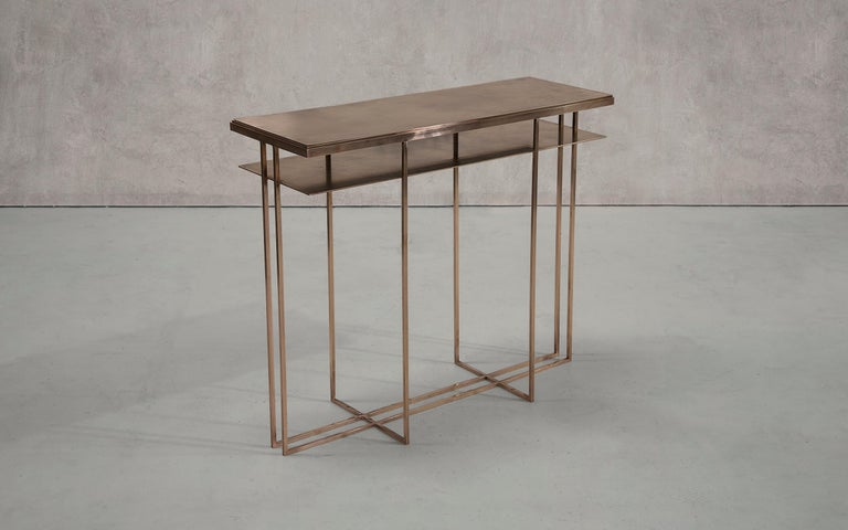 Brass Handcrafted Console Signed by Novocastrian For Sale 2