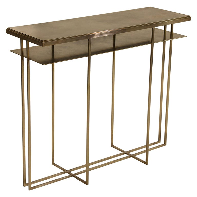 Brass Handcrafted Console Signed by Novocastrian For Sale