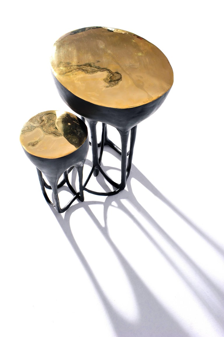 Brass hand-sculpted side table by Misaya.