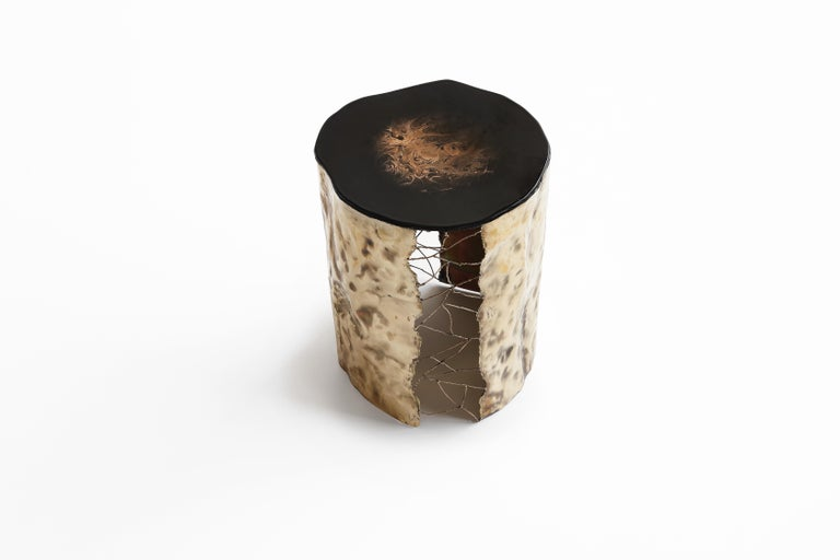 Brass hand-sculpted side table by Samuel Costantini Entirely handmade by the artist Title: Golden Waves Edition 15 + 2 AP Measures: Diameter 500 mm H 550 mm. Diameter 19.685, height 21.653 inches  Time leaves its mark on everything. Its signs