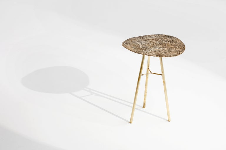 Organic Modern Brass Hand-Sculpted Side Table by Samuel Costantini For Sale
