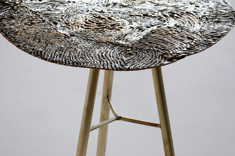 Italian Brass Hand-Sculpted Side Table by Samuel Costantini For Sale