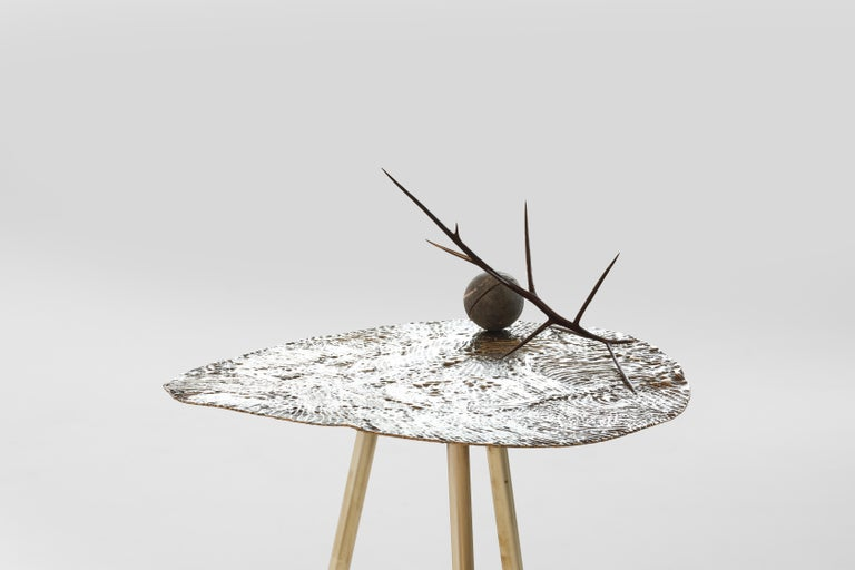 Contemporary Brass Hand-Sculpted Side Table by Samuel Costantini For Sale