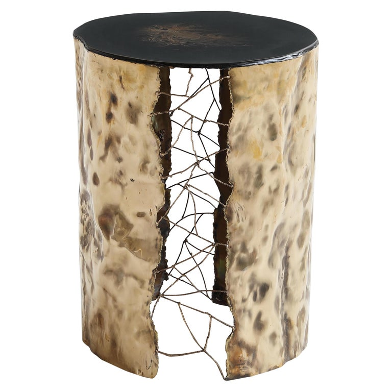 Brass Hand-Sculpted Side Table by Samuel Costantini For Sale