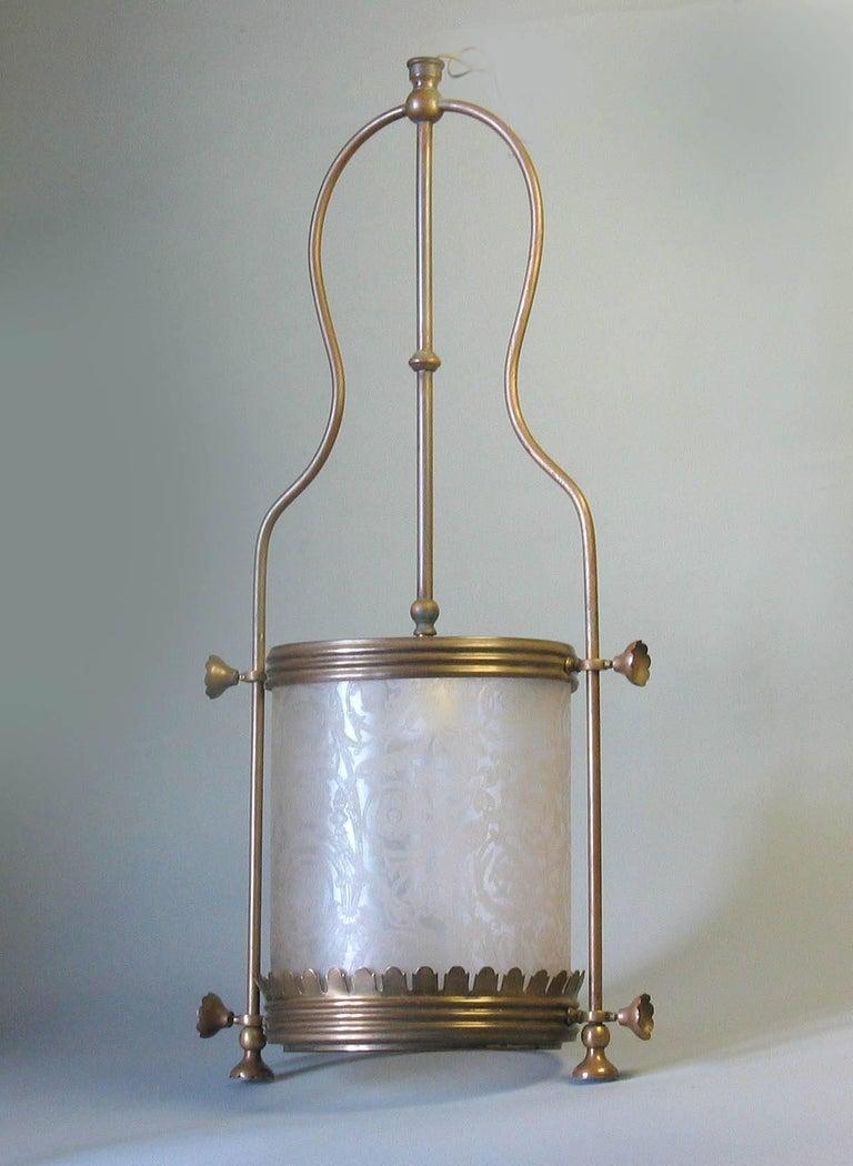 Brass Hanging Hall Lantern, Circa 1910 For Sale 2