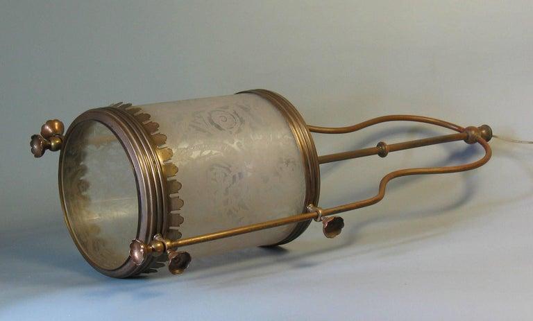 American Brass Hanging Hall Lantern, Circa 1910 For Sale