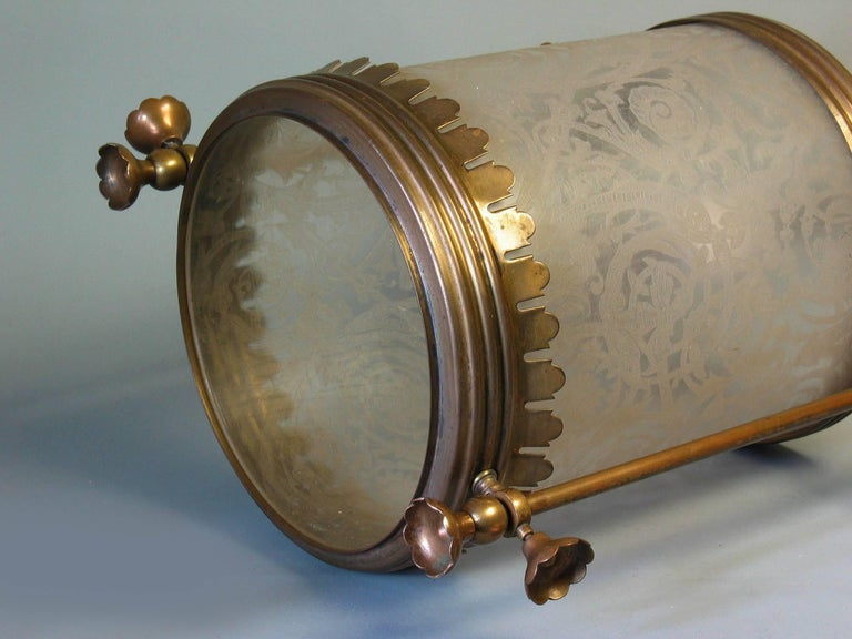 Brass Hanging Hall Lantern, Circa 1910 In Good Condition For Sale In Ottawa, Ontario