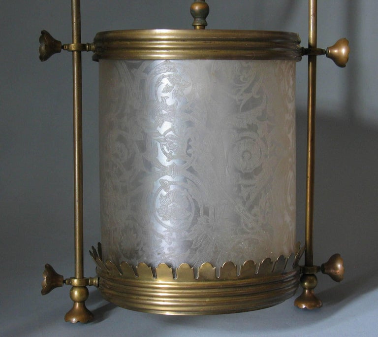 20th Century Brass Hanging Hall Lantern, Circa 1910 For Sale