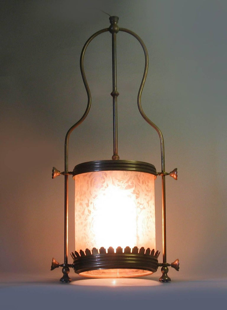 Glass Brass Hanging Hall Lantern, Circa 1910 For Sale