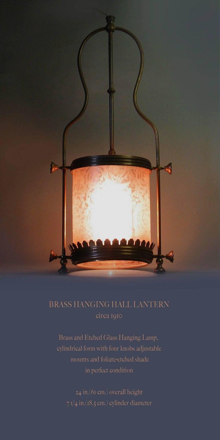 Brass Hanging Hall Lantern, Circa 1910 For Sale 1