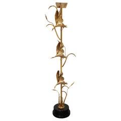 Brass Heron Floor Lamp by L. Galeotti for L'originale, 1970s