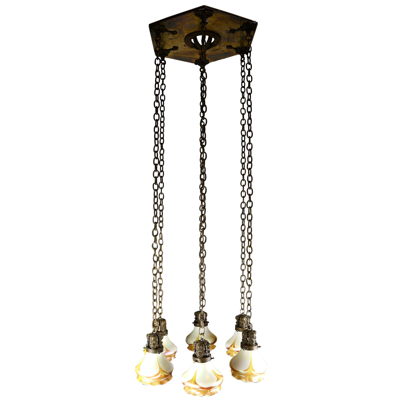 Brass Hexagonal Gothic 6 Shade Chandelier