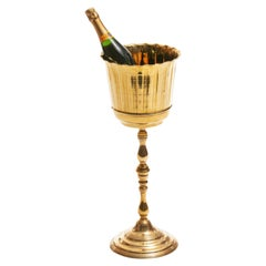 Brass Hollywood Regency Champagne Wine Stand, c. 1955