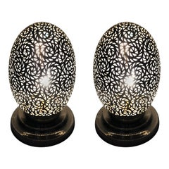 Brass Hollywood Regency Style Table Lamps, a Pair
