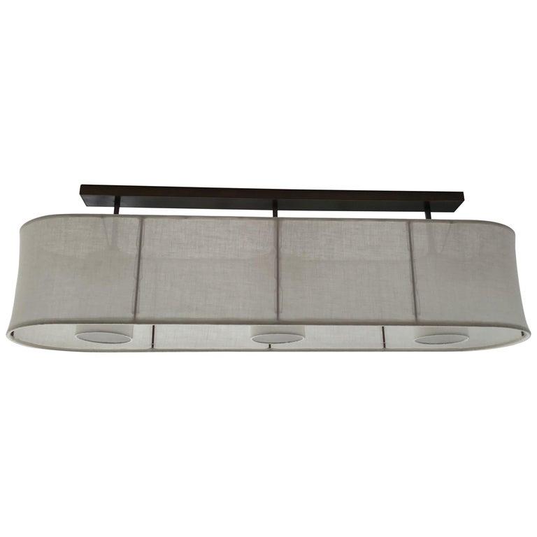 Brass Horizontal Oval Linen Shaded Horizon Triple Ceiling Light by Wende Reid For Sale