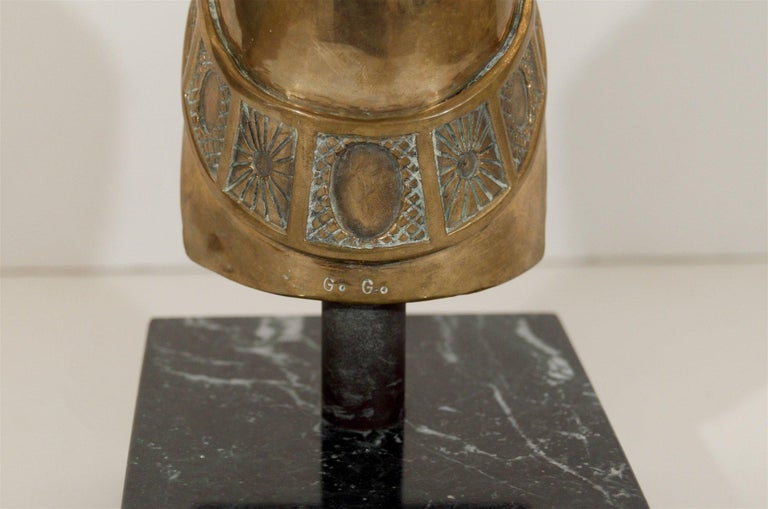 20th Century Brass Horse Head Sculpture on Marble Base For Sale