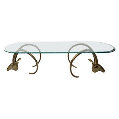 Brass Ibex Ram Coffee Table with Glass Top