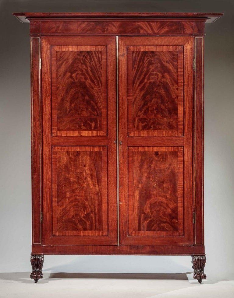 brass inlaid carved mahogany armoire or wardrobe for sale. Black Bedroom Furniture Sets. Home Design Ideas
