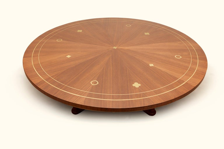 American Brass Inlaid Coffee Table by Bert England for Johnson Furniture For Sale