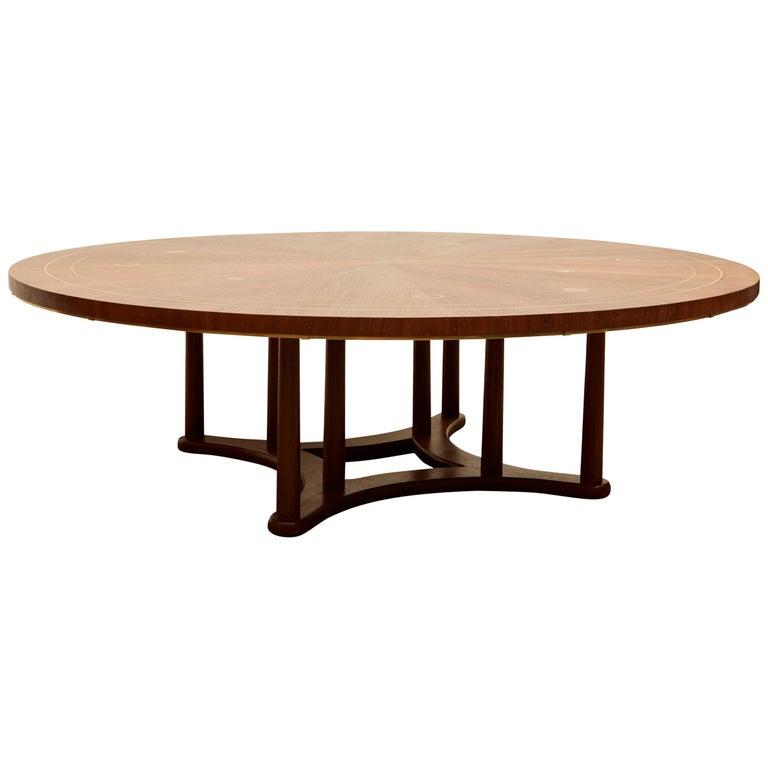 Brass Inlaid Coffee Table by Bert England for Johnson Furniture For Sale