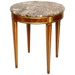 Brass Inlaid Marble-Top Table in the Neoclassic Manner