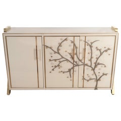 Brass Inlay and Ivory Murano Glass Flower Sideboard, Italy 2019, Pair Available