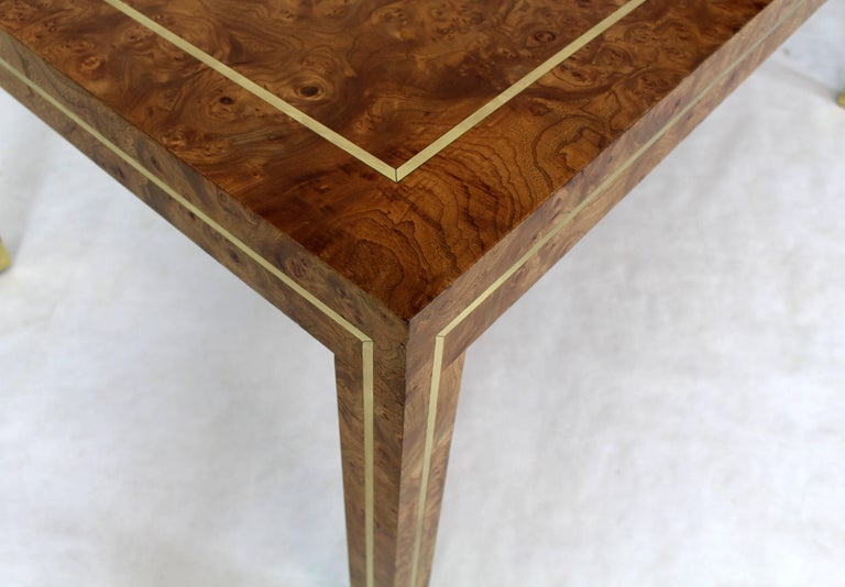 Mid Century Modern Brass Inlay Burl Wood Rectangle Coffee Table Centre