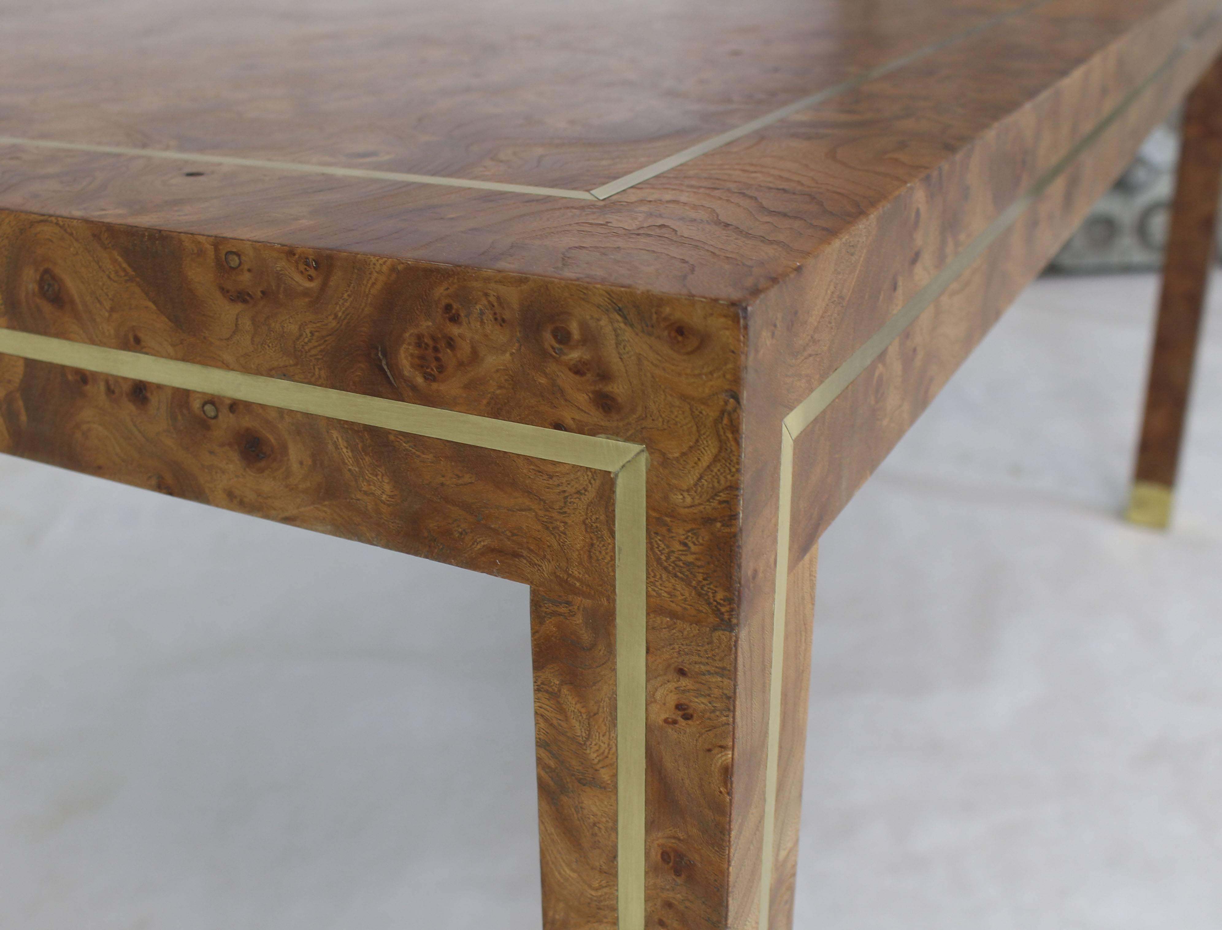 Mid Century Modern Brass Inlay Burl Wood Large Rectangular Coffee Table For  Sale