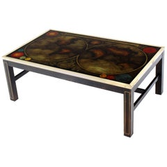 Brass Inlayed & Framed Rectangular Reverse Painted Atlas Map Top Coffee Table
