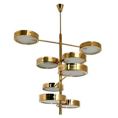 Brass Italian Chandelier in the Style of Bruno Gatta