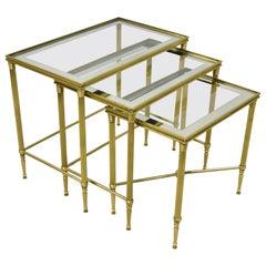 Brass Italian Hollywood Regency Side Nesting Tables Glass Top Tapered Legs Set 3