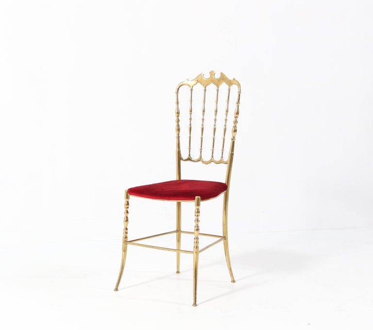 Brass Italian Mid-Century Modern Chair by Chiavari, 1960s In Good Condition For Sale In Amsterdam, NL