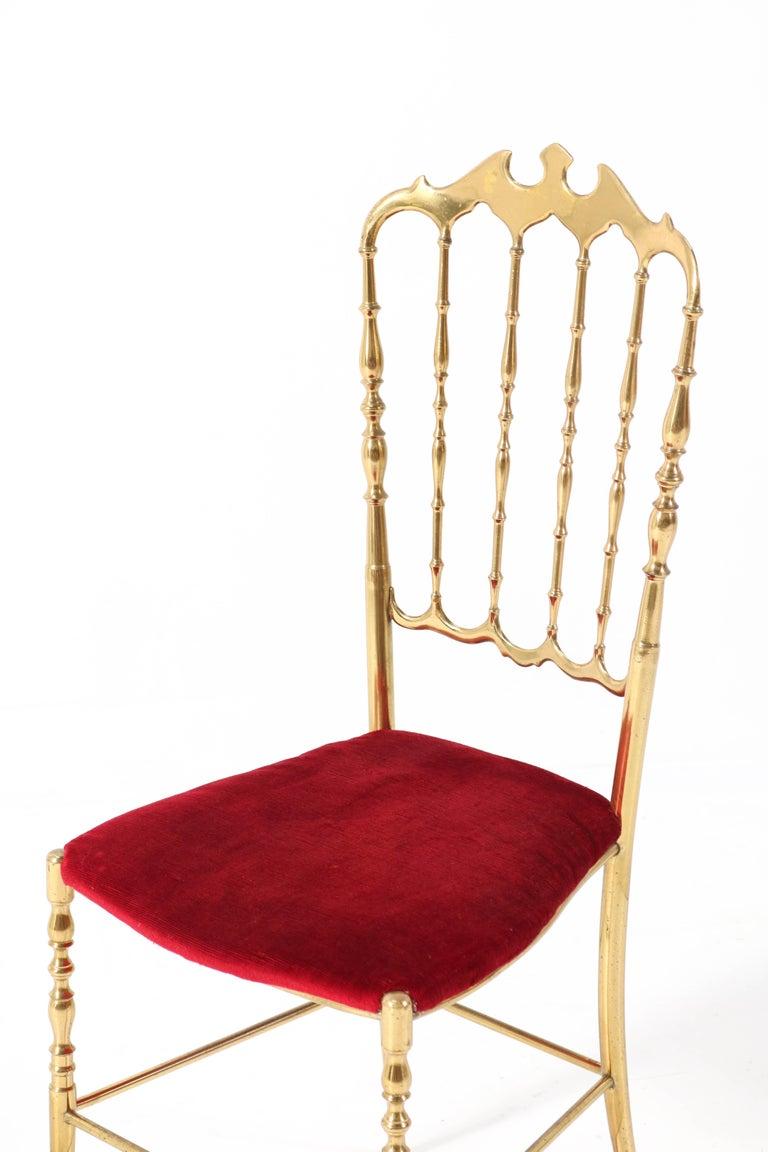 Brass Italian Mid-Century Modern Chair by Chiavari, 1960s For Sale 2