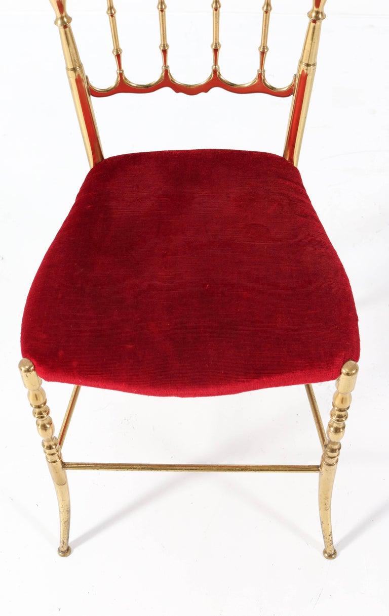 Brass Italian Mid-Century Modern Chair by Chiavari, 1960s For Sale 4
