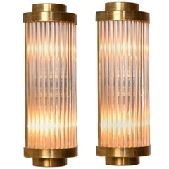Brass Italian Ravello Deco Style Wall Lights with 2-Tier Detail