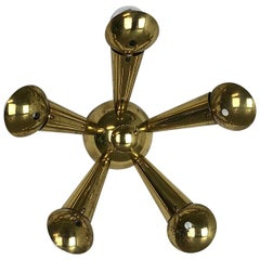 Brass Italian Stilnovo Style Theatre Wall Ceiling Light Sconces, Italy, 1950s