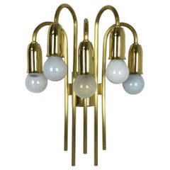 Brass Italian Stilnovo Style Theatre Wall Ceiling Light Sconces, Italy, 1970s
