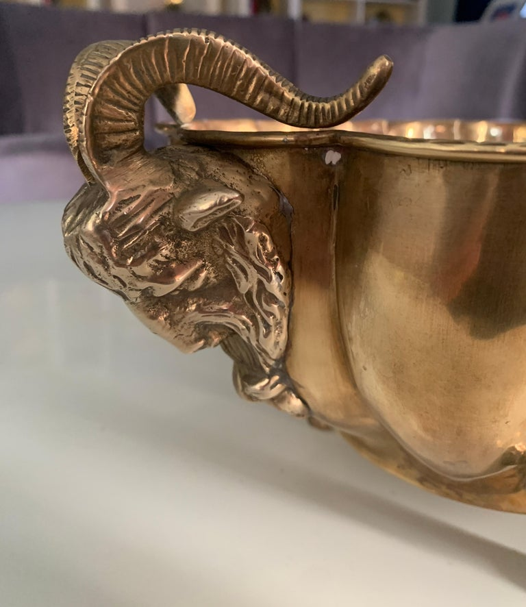 20th Century Brass Jardinière with Rams Head Handles and Paw Feet For Sale