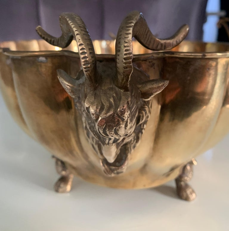Brass Jardinière with Rams Head Handles and Paw Feet For Sale 1