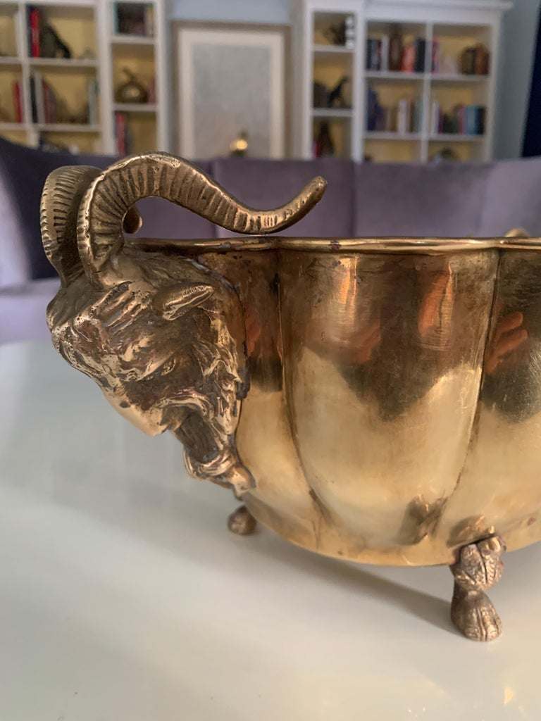 Brass Jardinière with Rams Head Handles and Paw Feet For Sale 2