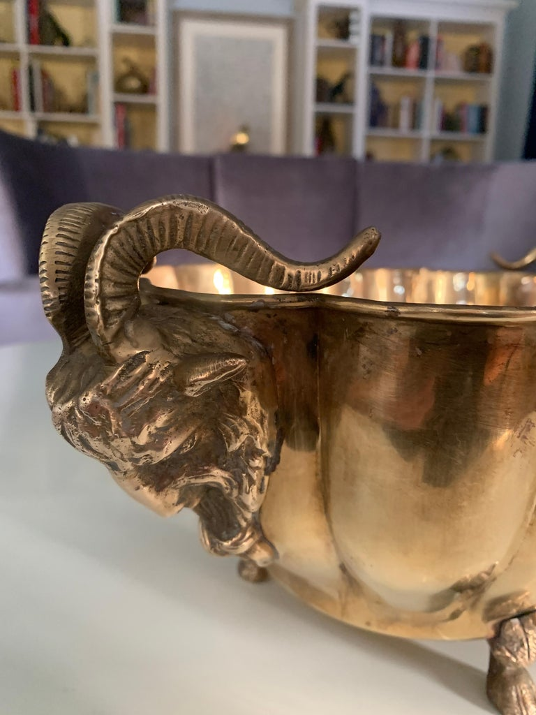 Brass Jardinière with Rams Head Handles and Paw Feet For Sale 3
