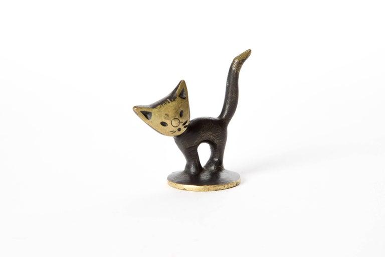 Mid-Century Modern Brass Kitten Cat Walter Bosse Blackened Brass with Hertha Baller, Vienna For Sale