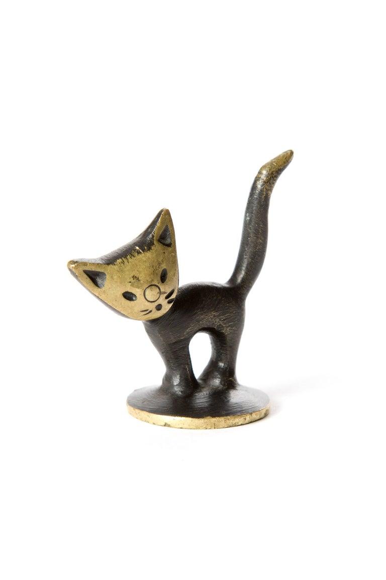Brass Kitten Cat Walter Bosse Blackened Brass with Hertha Baller, Vienna In Excellent Condition For Sale In LA Arnhem, NL