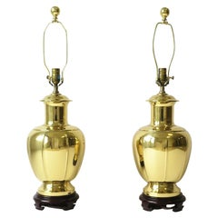 Gold Brass Table Lamps in the Chinoiserie Style, a Pair