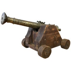 Brass Lantaka Cannon from South East Asia on Custom Wood Carriage, circa 1900