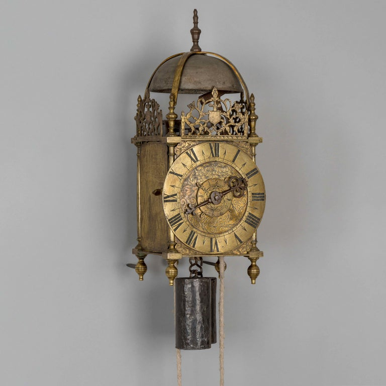 Brass lantern clock by Francois le Baigue, Paris