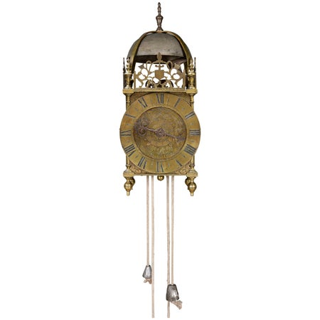 Late 17th Century French Brass Lantern Wall Clock by Francois le Baigue of Paris