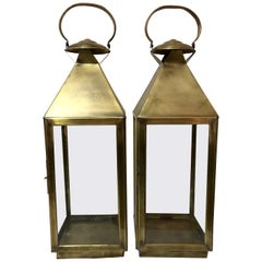 Brass Lantern or Candleholder for Garden or Indoor, a Pair